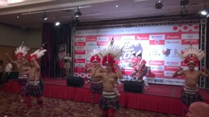 entertainment at pre-race conference